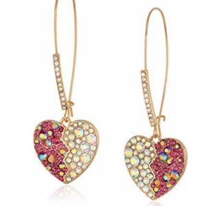 Betsey Johnson Heart Long Drop Earrings